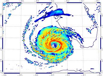 Simulated radar reflectivity for a simulation of Hurricane Charley as it approached the west coast of Florida on August 13, 2004.
