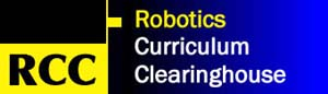 RCC, Robotics Curriculum Clearinghouse, logo in blue and yellow