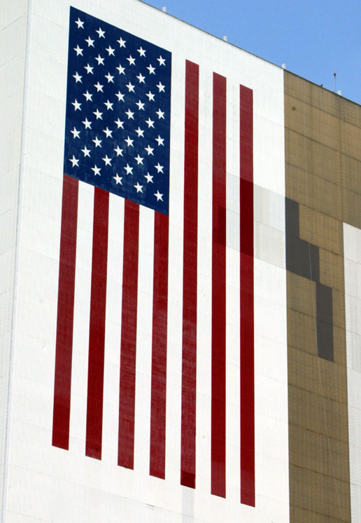 American Flag on Vehicle Assembly Building at KSC