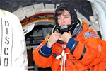 Mission Specialist Wendy Lawrence inside the Launch Pad 39B White Room