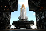 Discovery begins its trek to Launch Pad 39B
