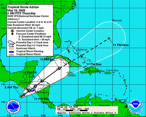 This map from the National Hurricane Center shows the predicted track of Tropical Storm Adrian across Central America and into the Caribbean.