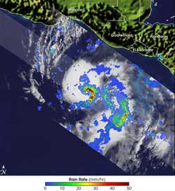 Medium sized image of the TRMM satellite picture of Hurricane Adrian