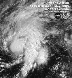 GOES satellite image of Tropical Storm Adrian taken on May 19, 2005