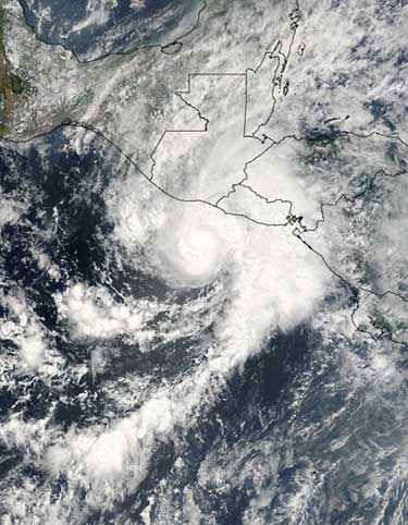 Image of Hurricane Adrian taken by MODIS.