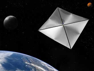 In an artist's rendition, a four-quadrant solar sail propulsion system, complete with payload, hovers at a fixed point in space in Earth orbit.