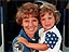 Astronaut Eileen Collins enjoying a hug from her daughter