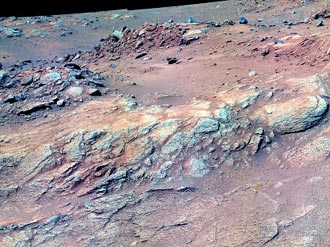 False color image of outcrop dubbed Methuselah, taken by Spirit in April 2005