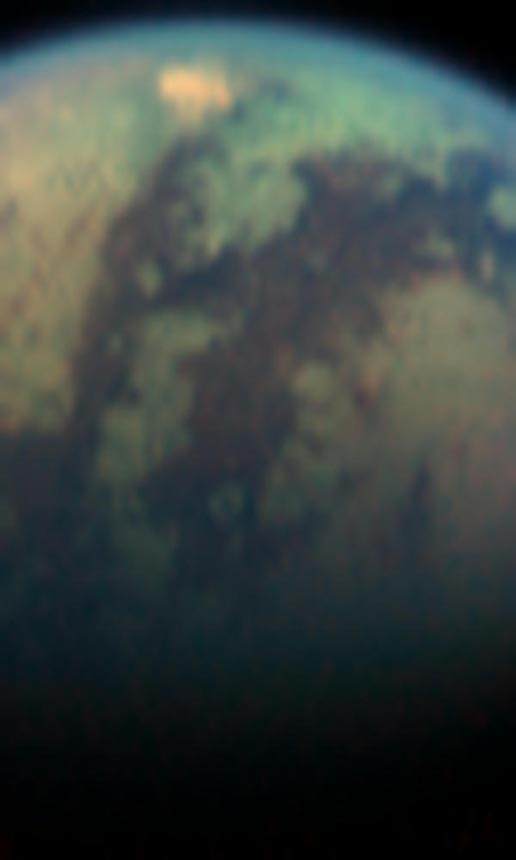 visual and infrared image showing unusual bright spot on Titan