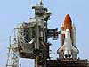 Space Shuttle Discovery is revealed after rollback of the Rotating Service Structure