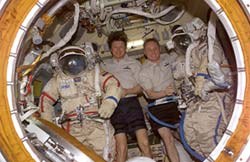 Expedition 9 crewmembers inside Pirs