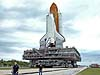 Space Shuttle Discovery, resting on the Mobile Launcher Platform atop the Crawler/Transporter