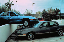Cars are thrown like toys during Hurricane Andrew.
