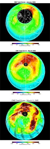 data from Aura showing ozone in January and March 2005, and March 11, 2005