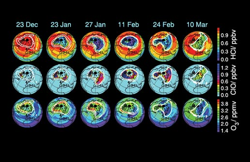 series of globes illustrating estimated ozone loss for arctic winter, 2004-2005