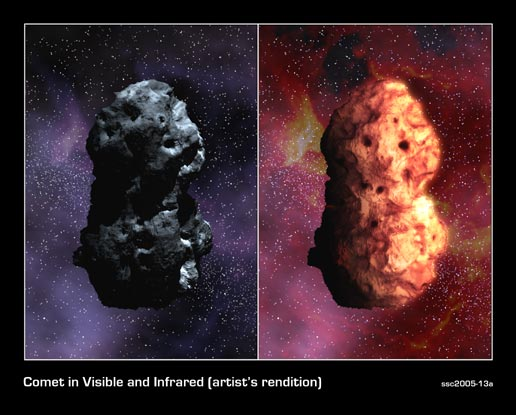 artist's concept illustrating Tempel 1 in visible (left) and infrared views