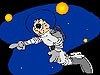 Cartoon drawing of an astronaut on a spacewalk