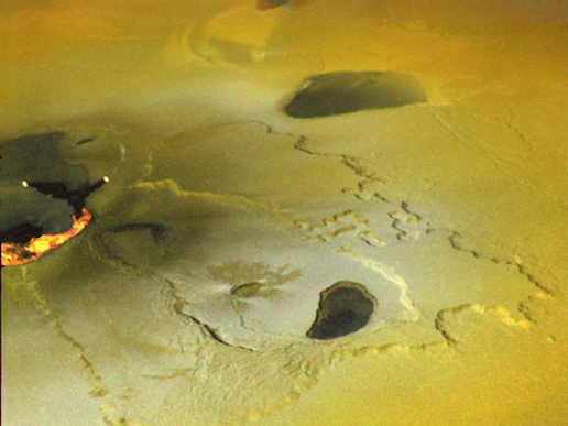 Volcanic eruption on Jupiter's moon Io