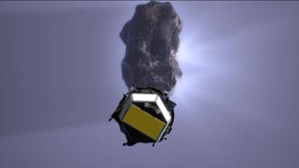 artist's concept showing impactor before colliding with comet Tempel 1