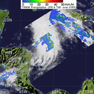 TRMM satellite photo of Tropical Storm Arlene on June 9, 2005.