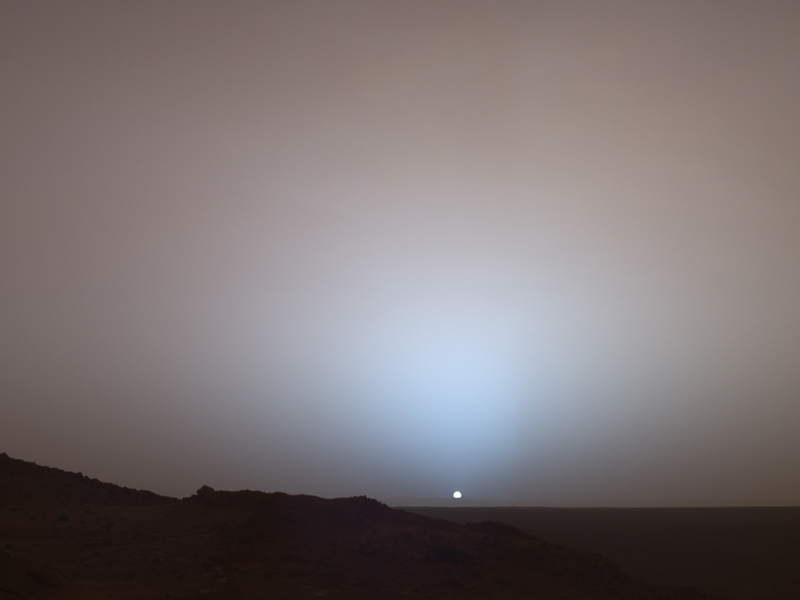 Panoramic picture showing sunset on Mars, taken by NASA Mars Exploration Rover Spirit on May 19, 2005
