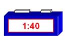 A digital clock showing the time of 1:40