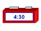 A digital clock showing the time of 4:30