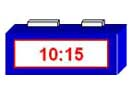 A digital clock showing the time of 10:15