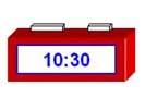 A digital clock showing the time of 10:30