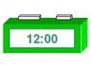 A digital clock showing the time of 12:00