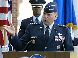 Gen. John P. Jumper, Air Force chief of staff, speaks at the ceremony