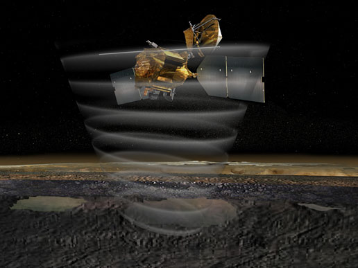 This artist's concept of the Mars Reconnaissance Orbiter highlights the spacecraft's radar capability.