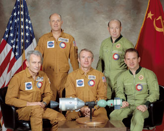 Apollo Soyuz Test Project crew from left: Slayton, Stafford, Brand, Leonov, Kubasov