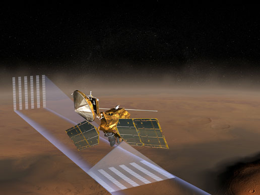 This artists concept of the Mars Reconnaissance Orbiter at Mars features one of its instruments - the Mars Climate Sounder - in action.