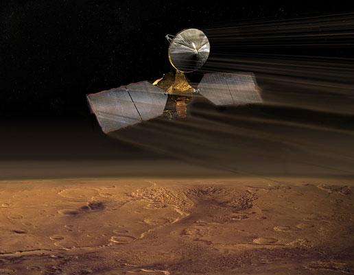 The Mars Reconnaissance Orbiter in its aerobraking stage