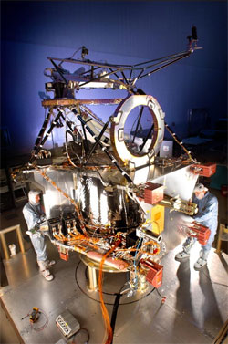 NASA's Mars Reconnaissance Orbiter, slated for launch in August 2005, is in final assembly phase at Lockheed Martin Space Systems, Denver.