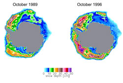 Antarctic snow depth on sea ice derived from satellite passive microwave data for October 1989 and 1996.