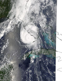 Satellite image of Hurricane Charley approaching Florida in 2004.