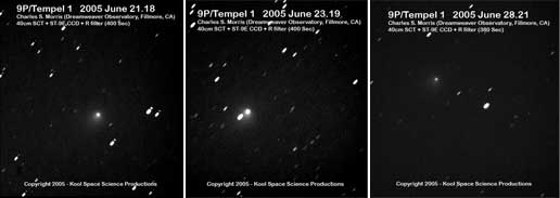 Deep Impact images from Dream Weaver Observatory, Fillmore, Calif.