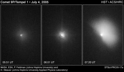 comet Tempel 1 were taken by NASA's Hubble Space Telescope