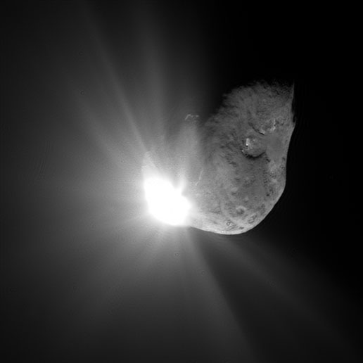 This spectacular image of comet Tempel 1 was taken 67 seconds after it obliterated Deep Impact's impactor spacecraft.