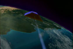 Image of the GRACE spacecraft orbiting the Earth