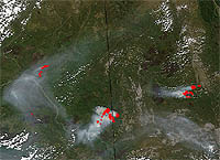 Satellite image of fires in Alaska and the Yukon Territory