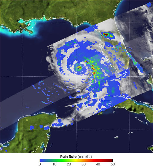 TRMM satellite image of Dennis on July 9, 2005.