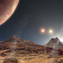 artist's concept showing hypothetical world with three suns