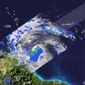 TRMM satellite image of Tropical Storm Emily.