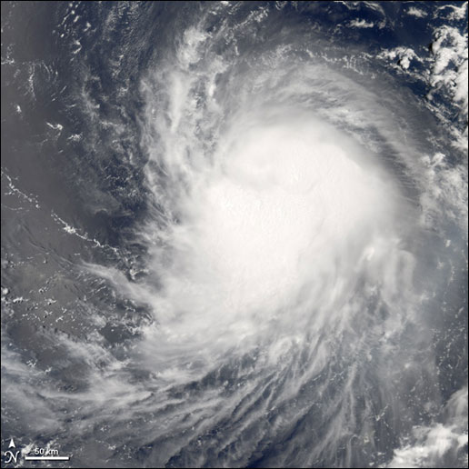 Hurricane Emily as seen by MODIS on July 14, 2005.
