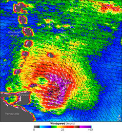 Hurricane Emily captured by Quikscat on July 13 2005.