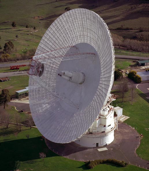 View of the Canberra Complex showing the 70m (230 ft.) antenna.
