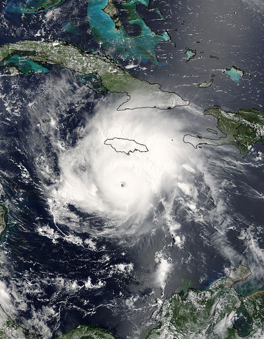MODIS image of Hurricane Emily from July 16, 2005.